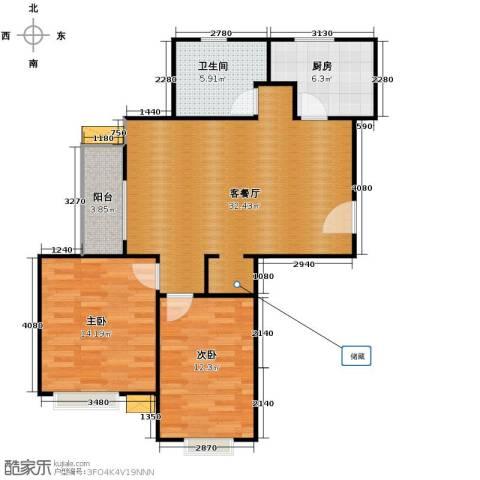 今日嘉园2室1厅1卫1厨80.42㎡户型图