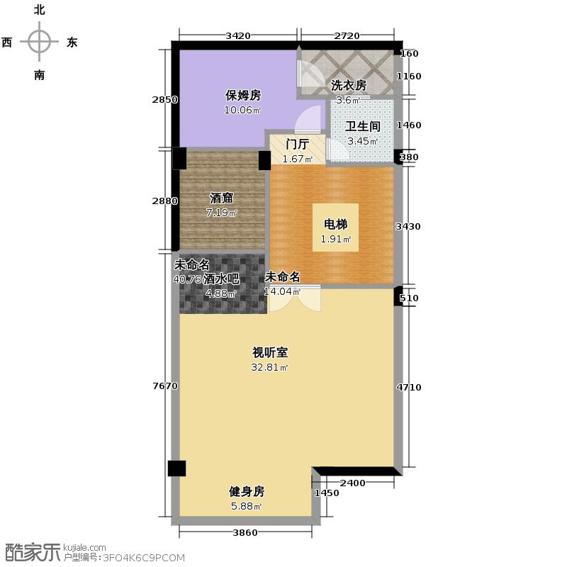 广大逸品86.68㎡P3地下层平面方案图户型2室1厅1卫