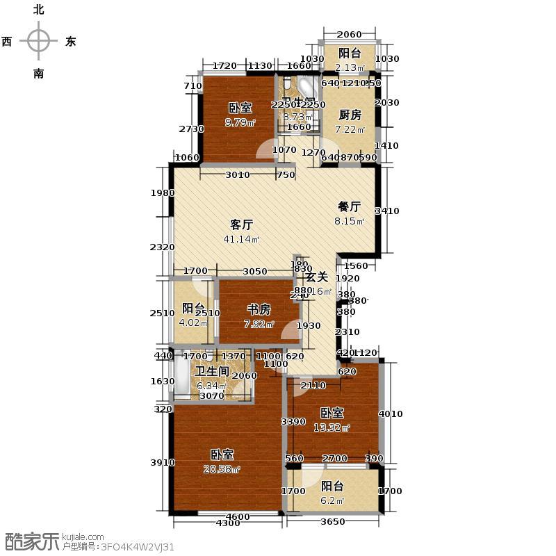 西鉴枫景157.00㎡2幢2-17层户型1室1厅2卫1厨
