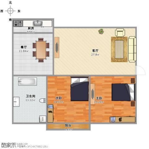 鑫海苑2室2厅1卫1厨114.00㎡户型图