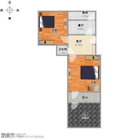 英雄山路公安局宿舍2室2厅1卫1厨76.00㎡户型图