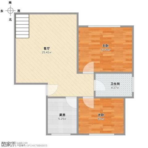 好日子大家园2室1厅1卫1厨74.00㎡户型图