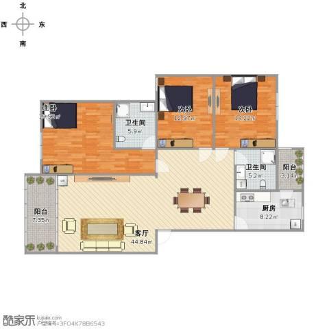乐仙小镇3室1厅2卫1厨162.00㎡户型图