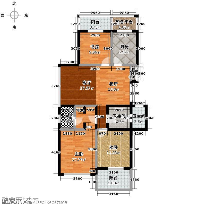 曙光之城125.00㎡7#偶数层西边套K1户型3室2厅2卫