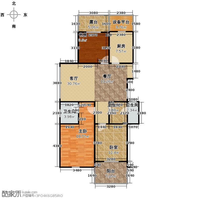 曙光之城125.00㎡11#、14#偶数层边套K2户型3室2厅2卫