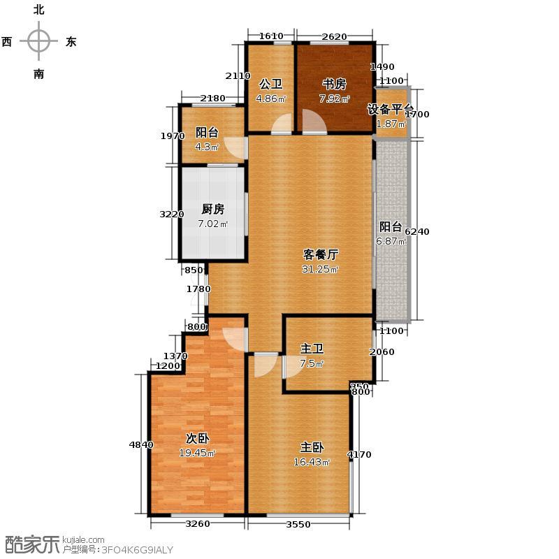 滨江凯旋门141.00㎡A户型3室2厅2卫