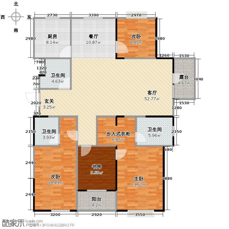 九悦江南181.00㎡2、3号楼平层SOHO公馆边套E-1奇数层户型4室2厅3卫