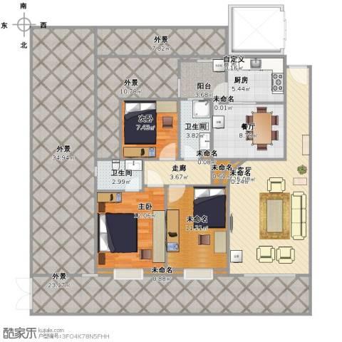 中澳世纪城2室2厅2卫1厨222.00㎡户型图