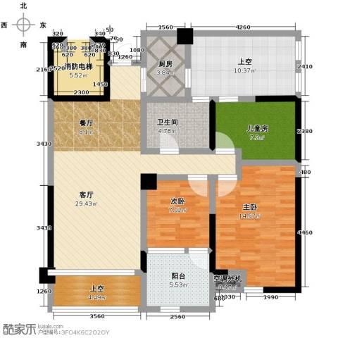 泊悦府3室2厅1卫0厨88.00㎡户型图