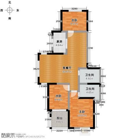 秋涛雅苑3室1厅2卫1厨133.00㎡户型图