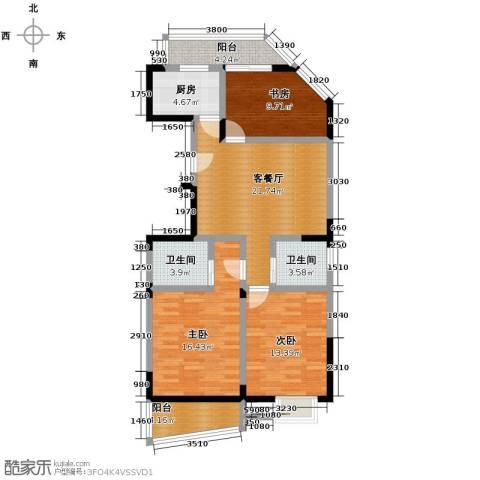 秋涛雅苑3室1厅2卫1厨121.00㎡户型图