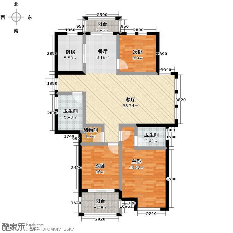 华立和郡121.00㎡F1户型3室1厅2卫1厨