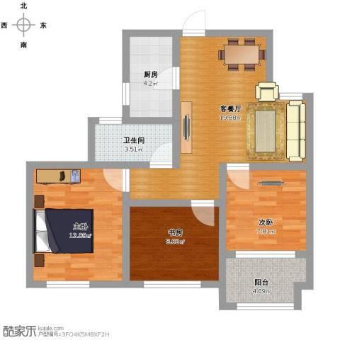 幸福城居住区经济适用房3室1厅1卫1厨70.00㎡户型图