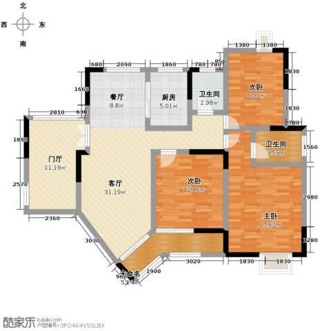 伊萨卡排屋3室1厅2卫1厨144.00㎡户型图