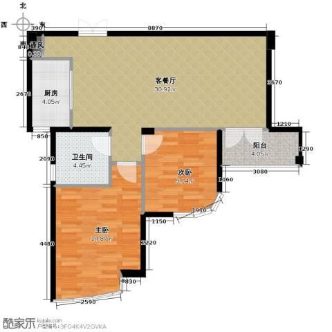 玉兰公寓2室1厅1卫1厨88.00㎡户型图