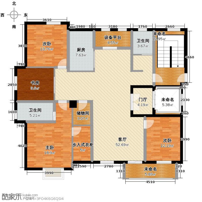 郡原相江公寓178.20㎡12-24号楼多层F-B户型4室2厅2卫