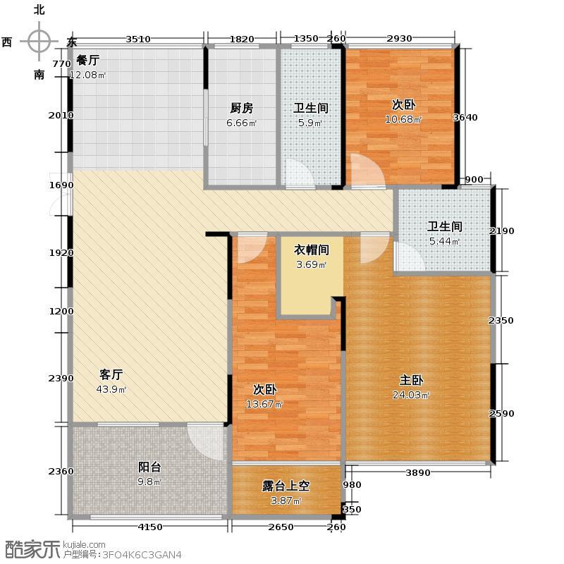 野风启城135.00㎡湾景城市公寓2号楼2单元东边套偶数层户型3室2厅2卫