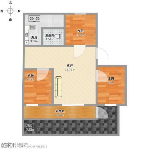 裕龙花园一区3室1厅1卫1厨60.00㎡户型图