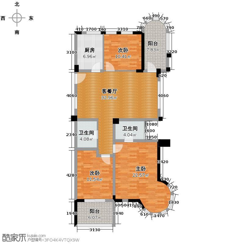 万家花城133.00㎡户型3室1厅2卫1厨