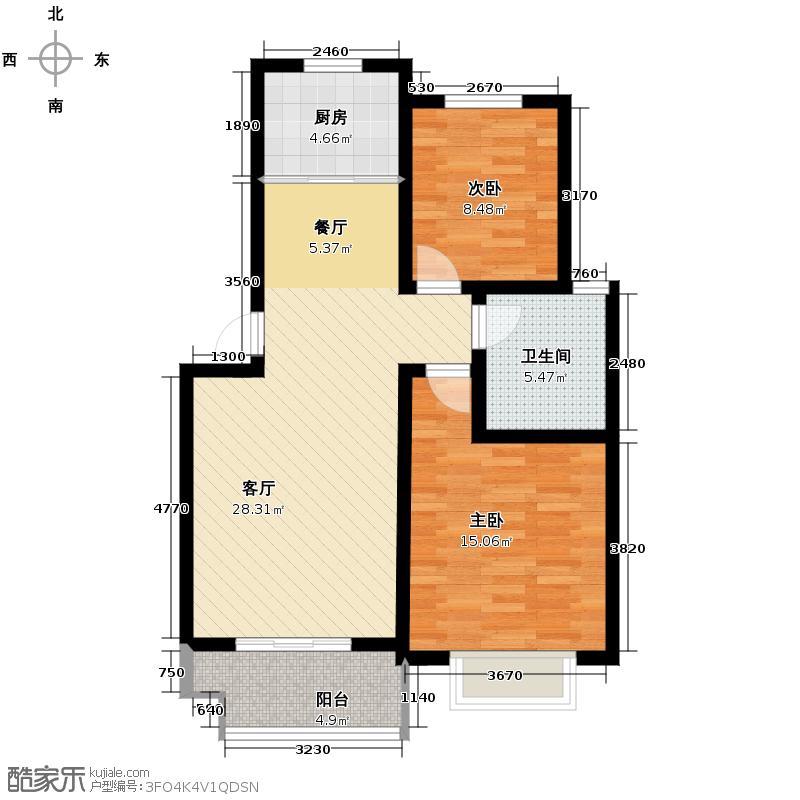 玲珑家园76.84㎡经纬户型2室1厅1卫1厨