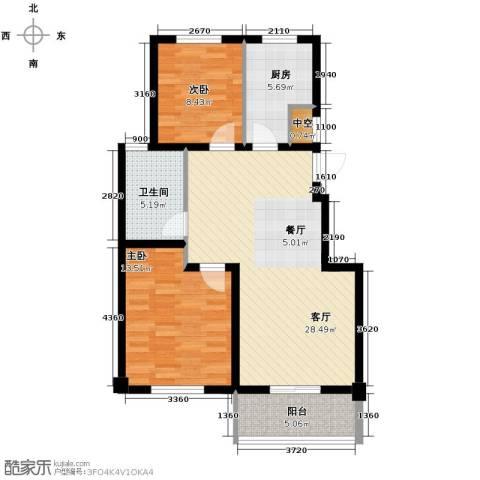 美都雅苑2室1厅1卫1厨88.00㎡户型图