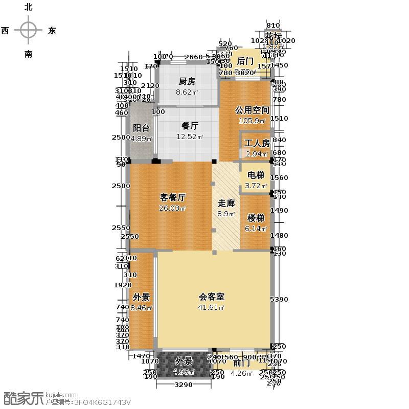 和家园148.48㎡中庭环墅一层户型10室