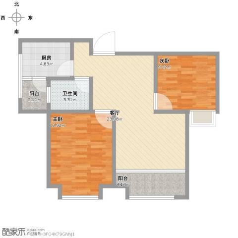 海湾新家园2室1厅1卫1厨87.00㎡户型图