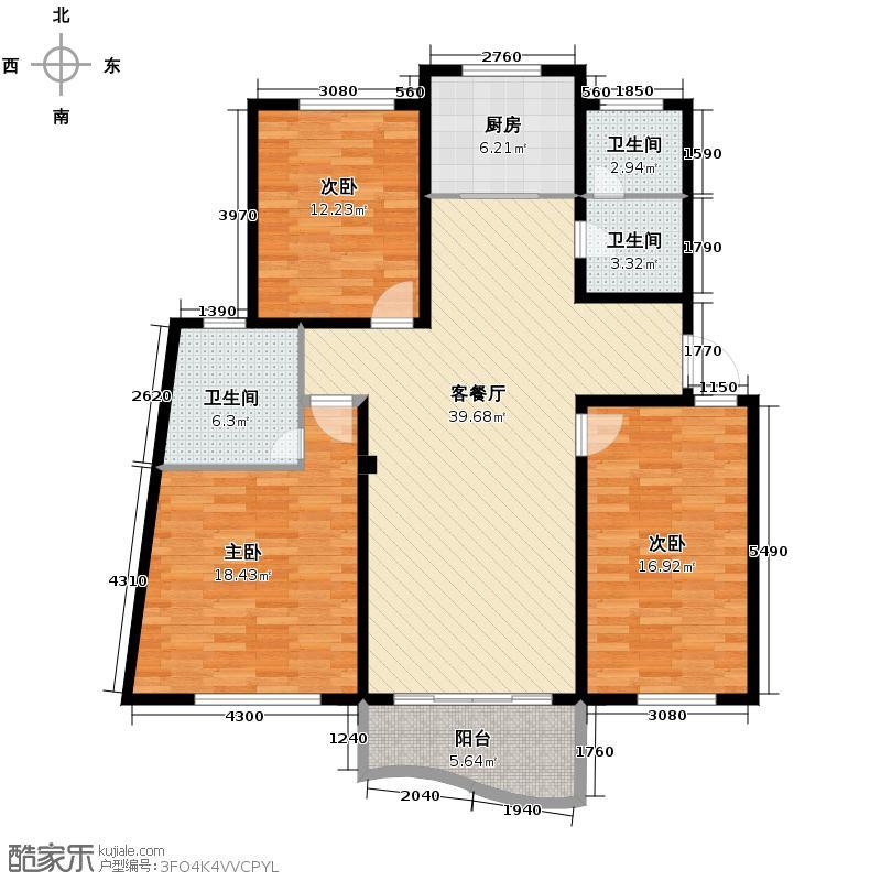 林水山居别墅136.03㎡户型3室1厅3卫1厨
