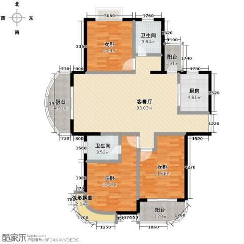 东方丽都花苑3室1厅2卫1厨120.00㎡户型图