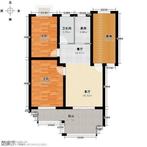 东林锦峰苑2室1厅1卫1厨74.33㎡户型图