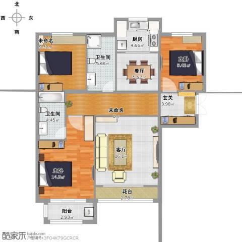 紫晶悦城2室2厅2卫1厨121.00㎡户型图