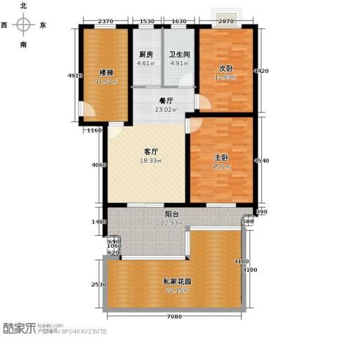 东林锦峰苑2室1厅1卫1厨107.13㎡户型图