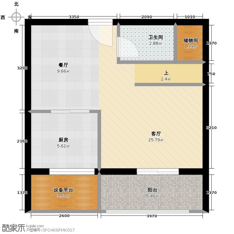 半岛国际89.00㎡南下层户型2室2厅2卫