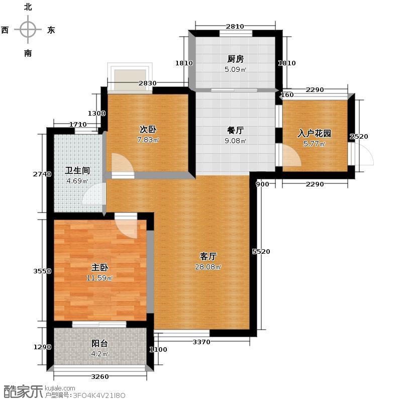 银树湾89.00㎡户型2室1厅1卫1厨