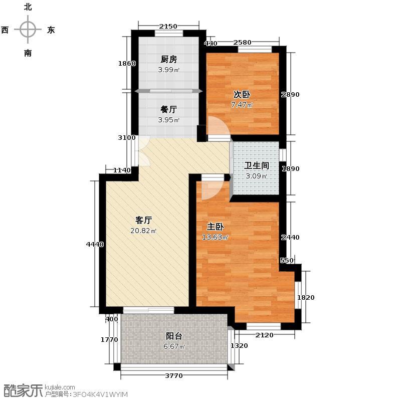 黄鹤山居89.89㎡4#-1-101户型2室1厅1卫1厨