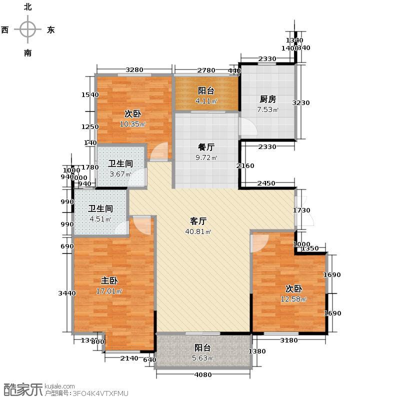 金成江南春城庭院深深133.36㎡云轩庭c2户型3室1厅2卫1厨