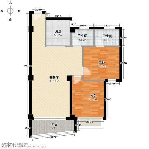 嘉业海华公寓2室1厅2卫1厨95.00㎡户型图
