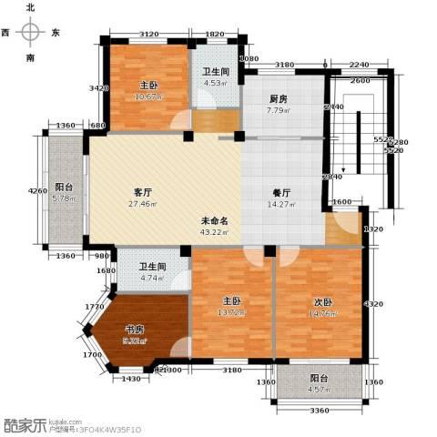 众孚水榭花都4室0厅2卫1厨136.00㎡户型图