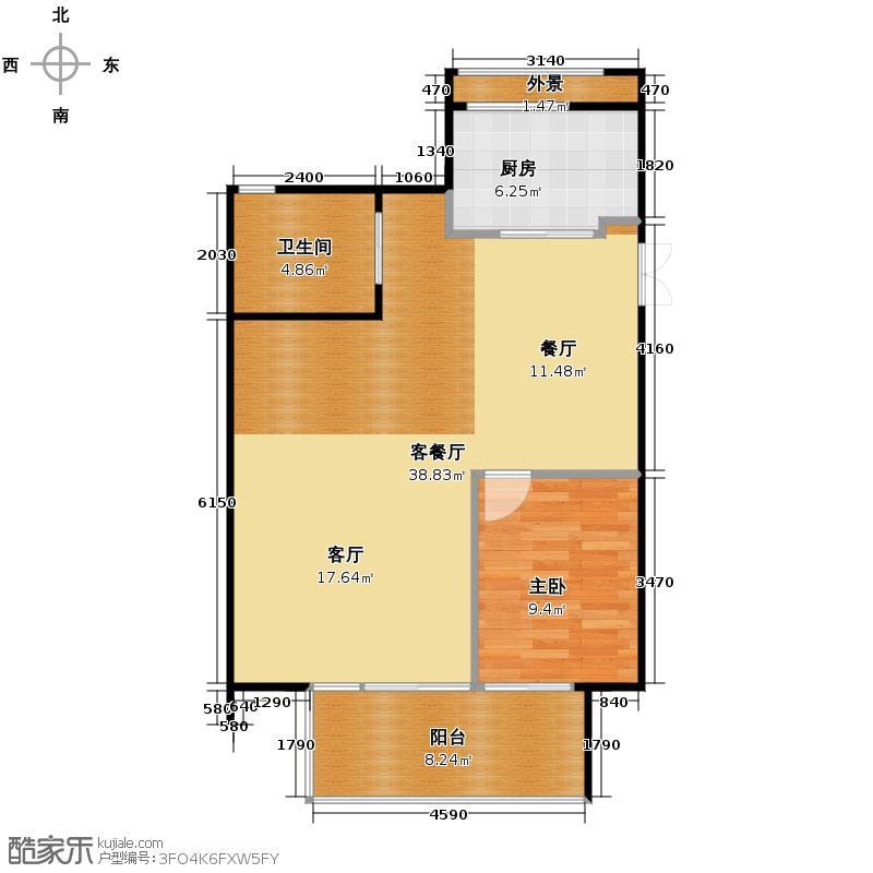 金瑞城市风景143.00㎡E一层户型4室2厅2卫