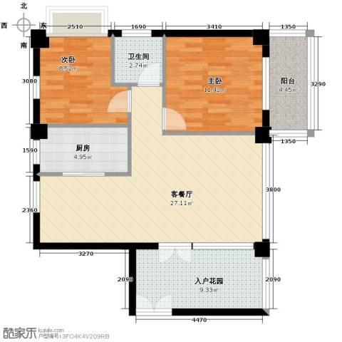 嘉业海华公寓2室1厅1卫1厨79.00㎡户型图