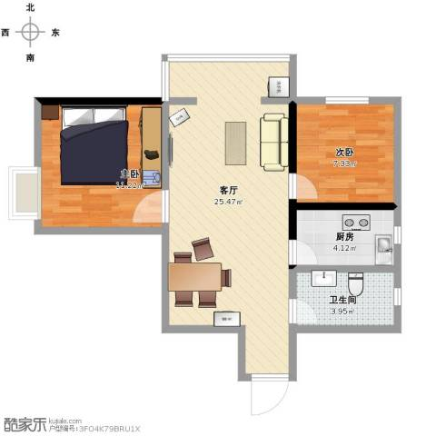 乐居场小区2室1厅1卫1厨74.00㎡户型图