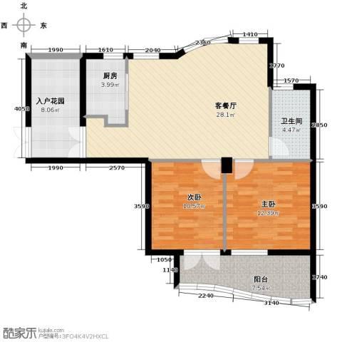 玉兰公寓2室1厅1卫1厨86.00㎡户型图