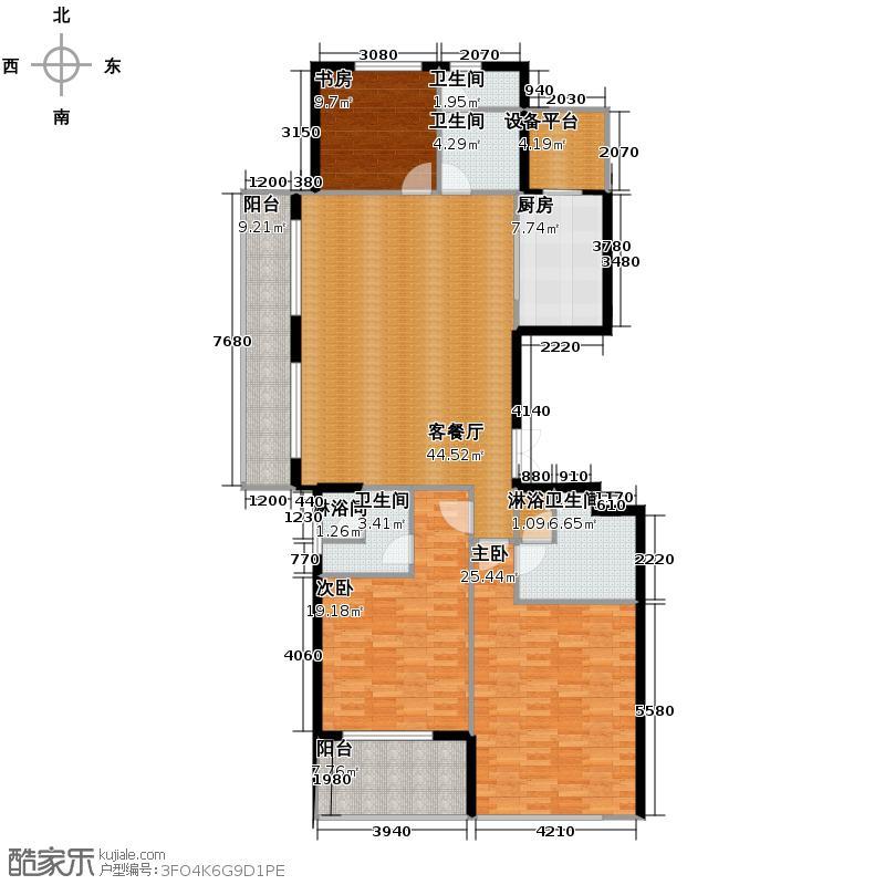滨江凯旋门178.00㎡1#楼D户型3室2厅3卫