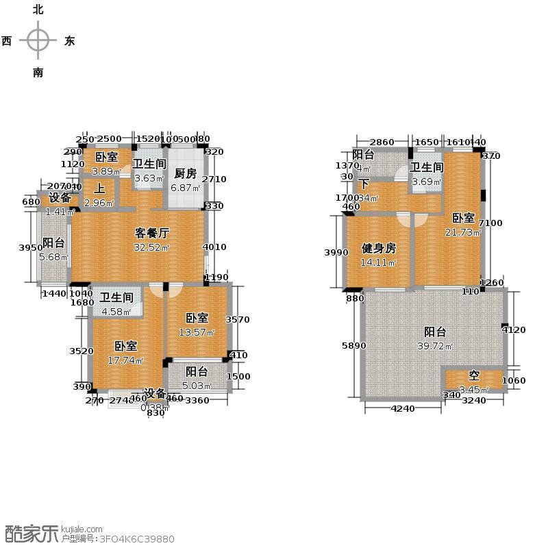 景丽华庭181.00㎡D2户型10室