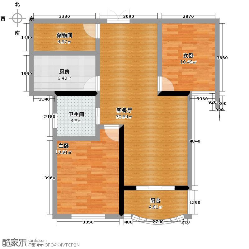 天元2005109.50㎡户型2室1厅1卫1厨