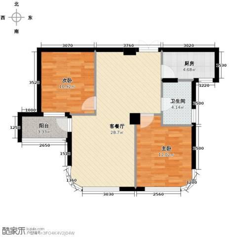 玉兰公寓2室1厅1卫1厨89.00㎡户型图