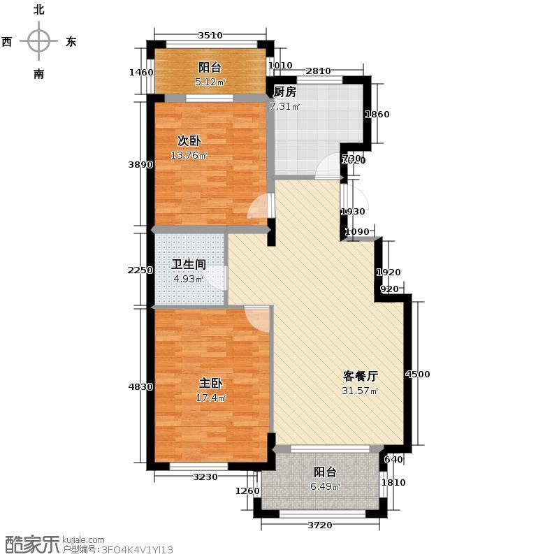 西房云溪香山104.00㎡G户型2室1厅1卫1厨