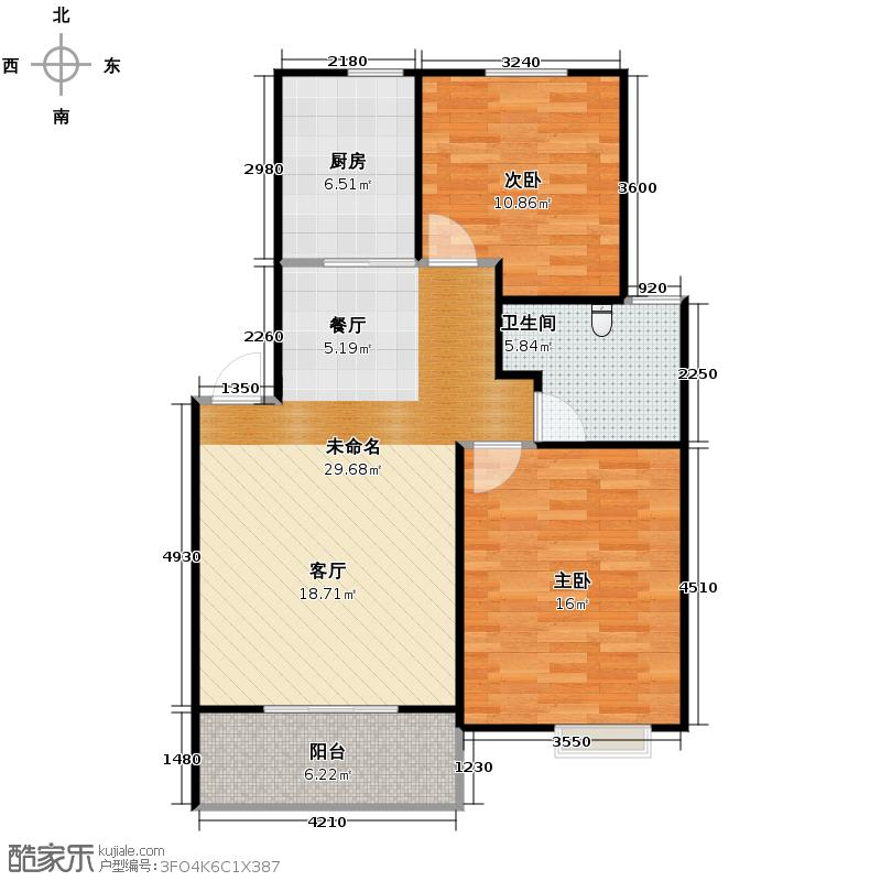 广大同城印象84.00㎡a户型2室2厅1卫
