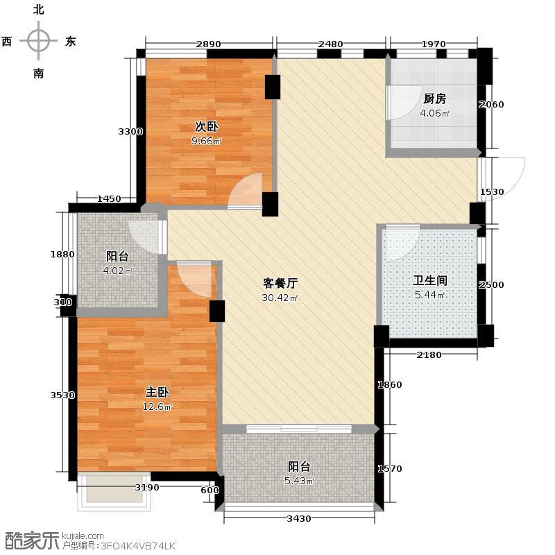 万泰新语90.00㎡E户型2室1厅1卫1厨