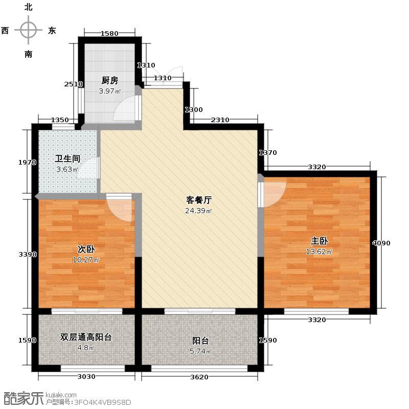 莱德绅华府88.77㎡7#楼偶数层7B户型2室1厅1卫1厨